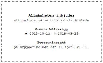 Begravning av Gnesta Målarvägg lördagen den 11 april kl. 11